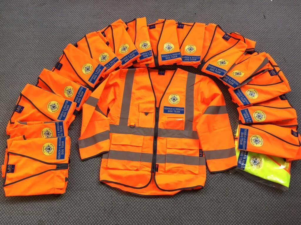 Hi Vis Search and Rescue Jackets for Hampshire Search and Rescue Dogs