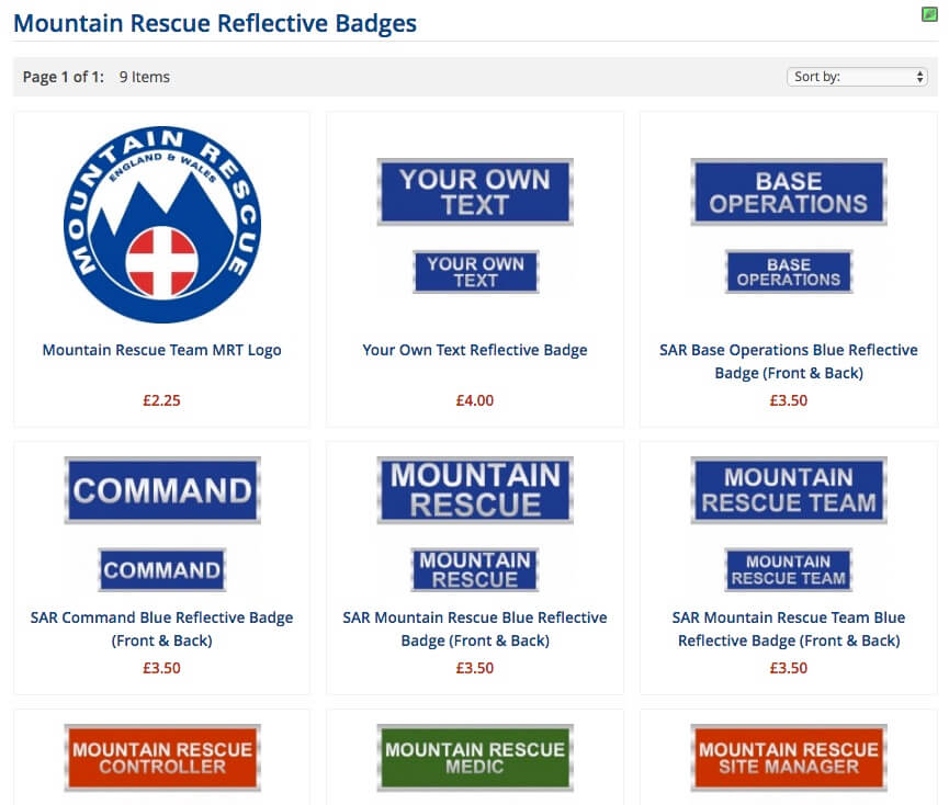 Mountain Rescue Teams Clothing and Badges