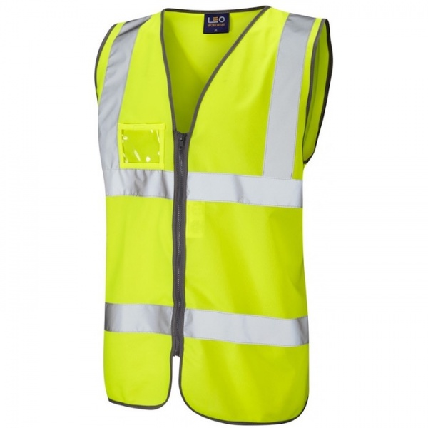 Leo Workwear W02-Y Rumsam Hi Vis Vest  Zipped and ID Pocket Yellow ISO 20471 Class 2