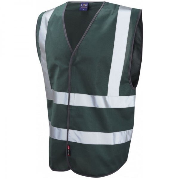 Leo Workwear Hi Vis Bottle Green Vest