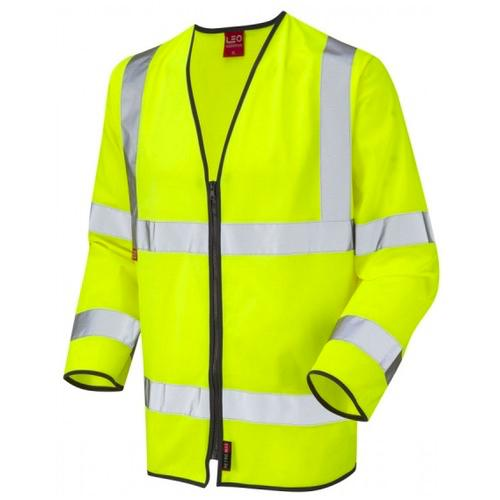 Leo Workwear S08-Y Hi Vis Class 3 LFS Long Sleeve Waistcoat Zipped Yellow