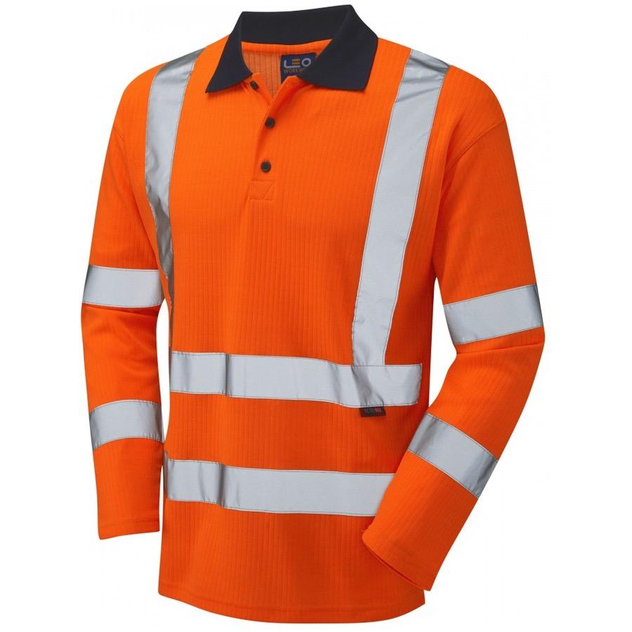Leo Workwear P05 O Hi Vis Polo Shirt Long Sleeve Orange Go