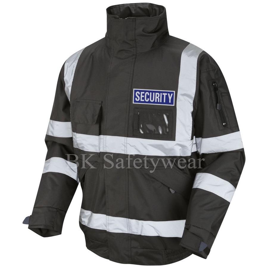 Hi Vis Security Bomber Jacket Black With Blue Badge Bk