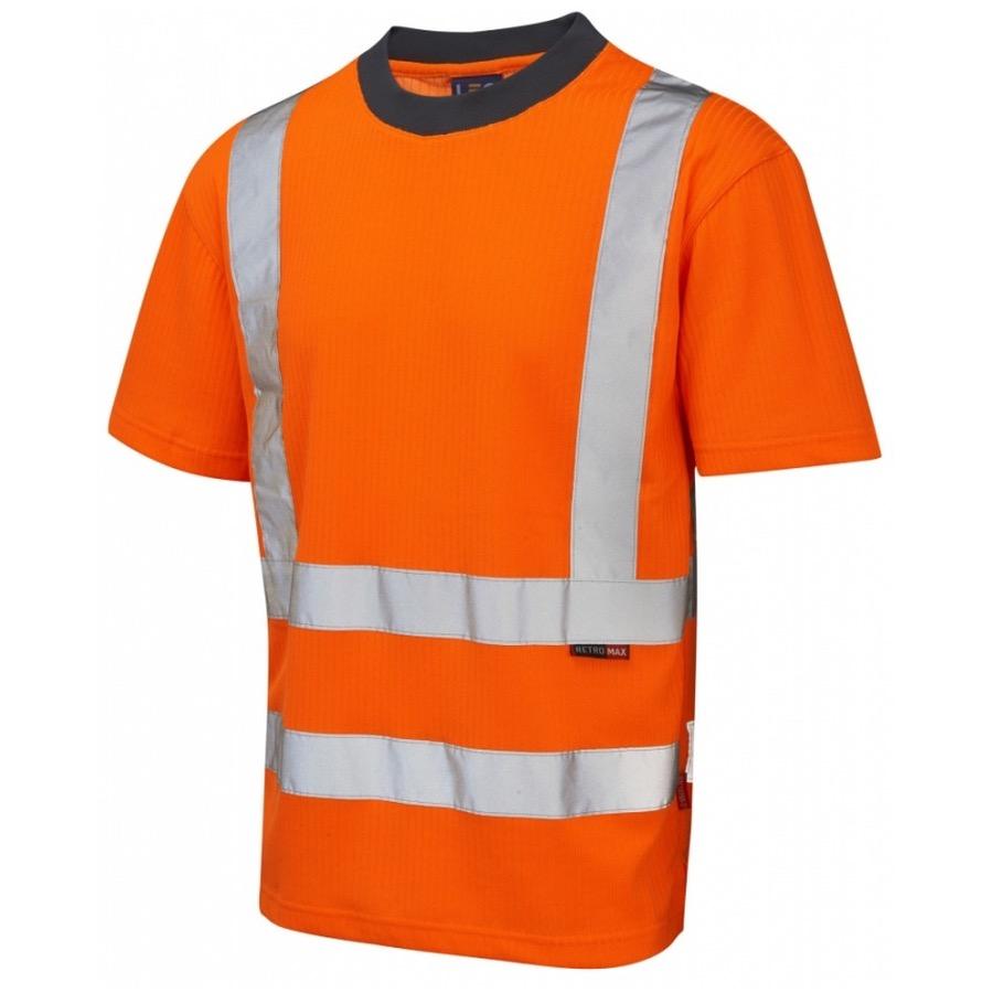Leo workwear t01 o hi vis t shirt orange go rt bk safetywear for Hi vis safety shirts