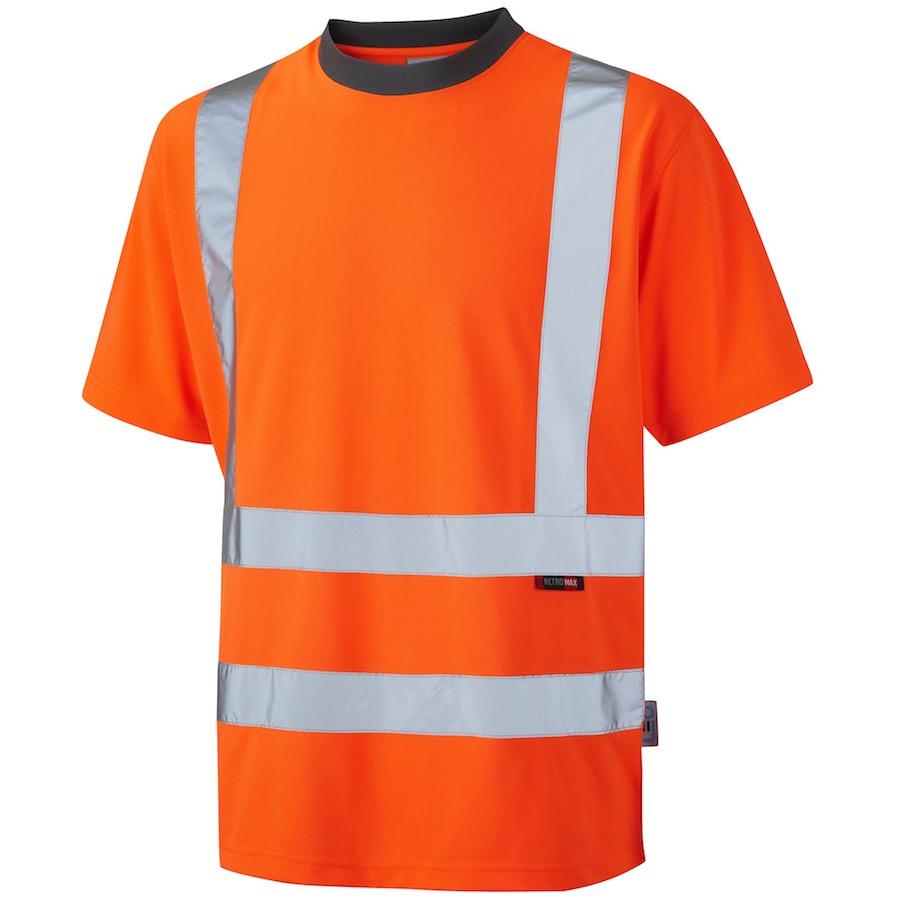 leo workwear t02 o hi vis coolviz t shirt orange bk