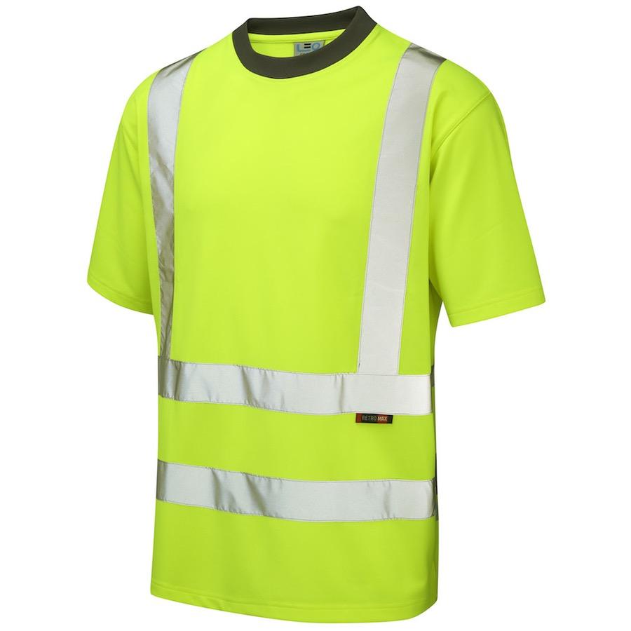 Leo Workwear T02 Y Hi Vis Coolviz T Shirt Yellow Bk