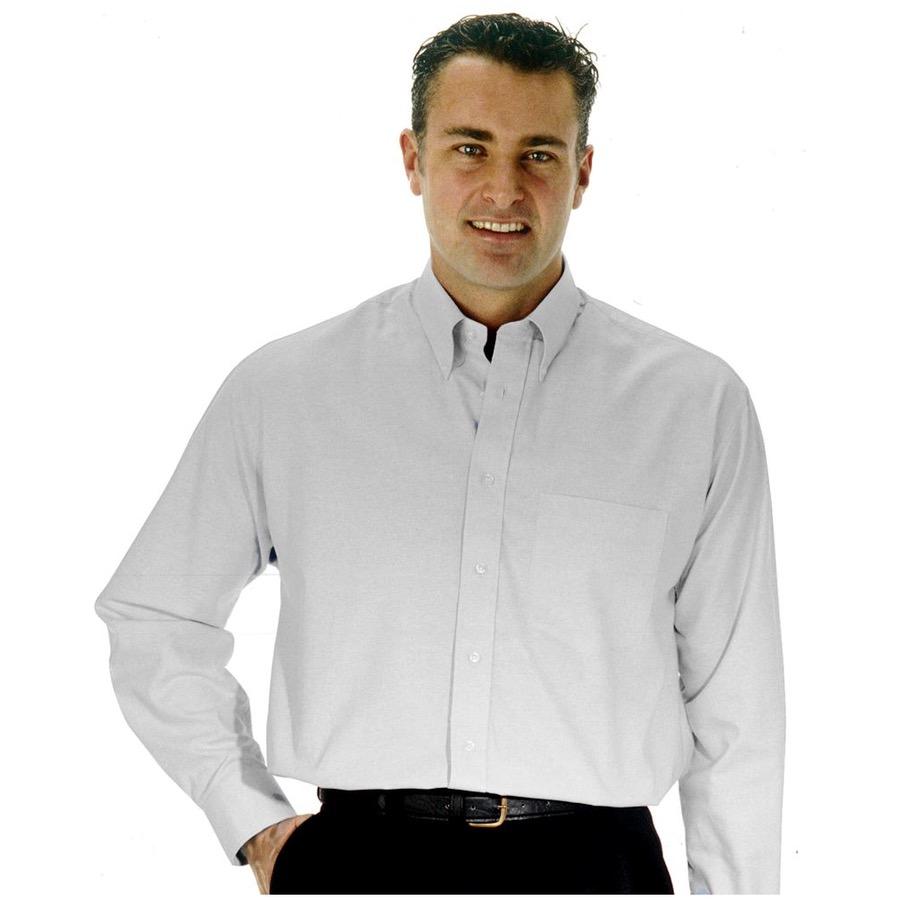 Portwest Mens Oxford Shirt Long Sleeve White Bk Safetywear