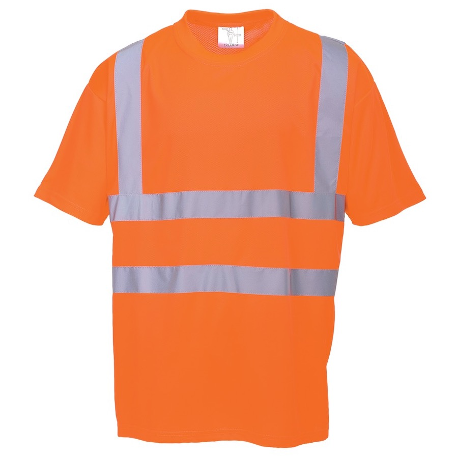 Portwest rt23 hi vis t shirt gort orange bk safetywear for Hi vis t shirt printing
