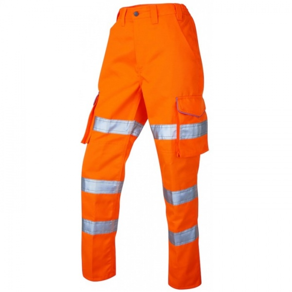 Leo Workwear CL01-O PENNYMOOR  ISO 20471 Class 2 Ladies Poly/Cotton Ladies Cargo Hi Vis Trouser Orange