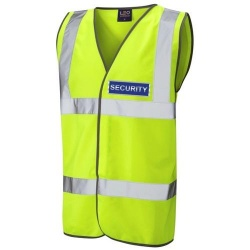 Security Blue Hi Vis Waistcoat Yellow
