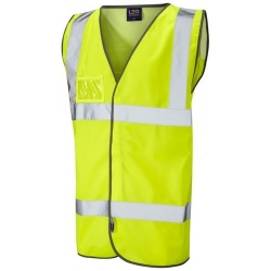 Leo Workwear W03-Y Velator Hi Vis Vest Airport Style Mesh Back Yellow ISO 20471 Class 2