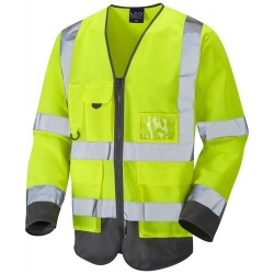 Leo Workwear S12-Y/GY Hi Vis Class 3 Superior Sleeved Waistcoat Yellow / Grey