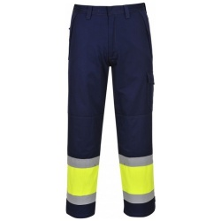 Portwest MV26 Hi Vis Yellow / Navy MODAFLAME Trousers
