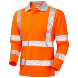 Leo Workwear P08-O Hi Vis Coolviz Plus Long Sleeve Polo Shirt Orange