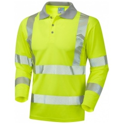 Leo Workwear P08-Y Hi Vis Coolviz Plus Long Sleeve Polo Shirt Yellow