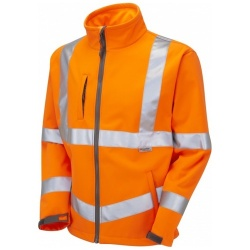 Leo Workwear SJ01-O Hi Vis Softshell Jacket GO/RT Orange