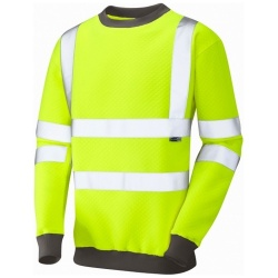 Leo Workwear Hi Vis Sweatshirt SS05-Y Winkleigh Crew Neck Yellow ISO 20471 Class 3