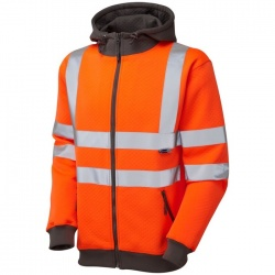 Leo Workwear Hi Vis Full Zip Hoodie Sweatshirt SS02-O Saunton Orange ISO 20471 Class 3