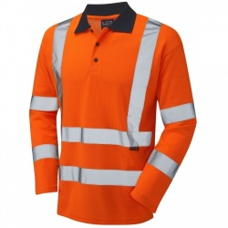Leo Workwear P05-O Hi Vis Polo Shirt Long Sleeve Orange GO/RT