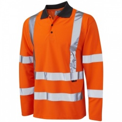 Leo Workwear P06-O Hi Vis Polo Shirt Long Sleeve Orange GO/RT Coolviz