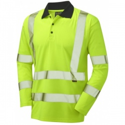Leo Workwear P05-Y Hi Vis Polo Shirt Long Sleeve Yellow