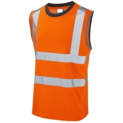 Leo Workwear V01-O Hi Vis Shirt Muscle Top (Vest) Orange GO/RT