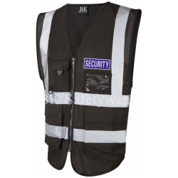 Blue Security Reflective Badge on Black Hi Vis Superior Security Waistcoat