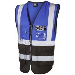 Black Security Reflective Badge on Royal Blue and Black Hi Vis Superior Security Waistcoat