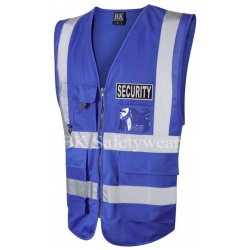 Black Security Reflective Badge on Blue Hi Vis Superior Security Waistcoat