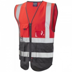 Leo Workwear W11-R/GY Lynton Hi Vis Superior Waistcoat Flame Red / Grey