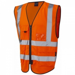 Leo Workwear W11-O Lynton Hi Vis Superior Waistcoat Orange