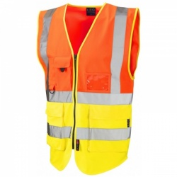 Leo Workwear W11-O/Y Lynton Hi Vis Superior Waistcoat Orange / Yellow