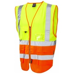 Leo Workwear W11-Y/O Lynton Hi Vis Superior Waistcoat Yellow / Orange