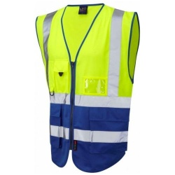Leo Workwear W11-Y/RO Lynton Hi Vis Superior Waistcoat Yellow / Royal Blue