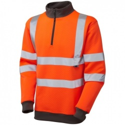 Leo Workwear Hi Vis Sweatshirt SS01-O Brynsworthy 1/4 Zip Orange ISO 20471 Class 3
