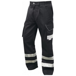 Leo Workwear CT02-BK Ilfracombe Hi Vis Cargo Workwear Trouser Black