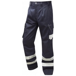 Leo Workwear CT02-NV Ilfracombe Hi Vis Cargo Workwear Trouser Navy