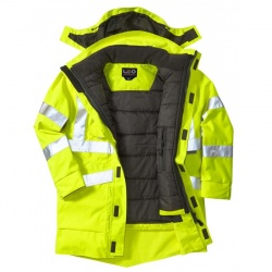 Leo Workwear 3 in 1 Clovelly Hi Vis Executive Anorak Yellow With Bodywarmer up to 6XL