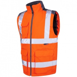 Leo Workwear Railway BW01-O Torrington Hi Vis Bodywarmer GO/RT Orange