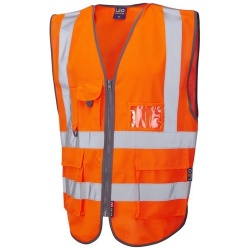 Leo Workwear W22-O Barnstaple Hi Vis Superior Class 2 GO/RT Railway Waistcoat Orange