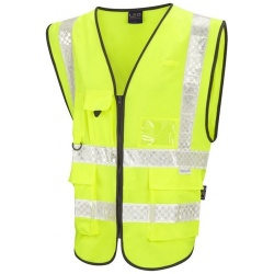 Leo Workwear W12-Y Heanton Hi Vis Superior Plus Waistcoat Yellow