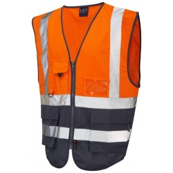Leo Workwear W11-O/NV Lynton Hi Vis Superior Waistcoat Orange / Navy