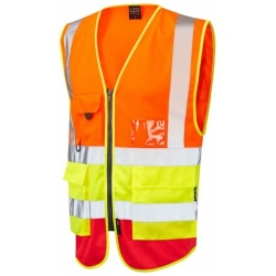 Leo Workwear W11-O/Y/R Lynton Hi Vis Superior Waistcoat Orange / Yellow / Red