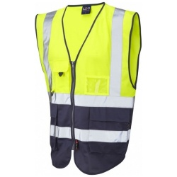 Leo Workwear W11-Y/NV Lynton Hi Vis Superior Waistcoat Yellow / Navy