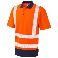 Leo Workwear P11-O/NV Dual Colour Coolviz Plus Polo Shirt Orange / Navy