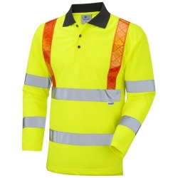 Leo Workwear P07-Y BICKLETON Hi Vis Class 3 Coolviz Sleeved Polo Yellow / Orange Braces