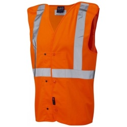 Leo Workwear W18-O Chapleton Railway Underground Waistcoat GO/RT Orange