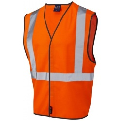 Leo Workwear W14-O Lapford Railway Vest Waistcoat GO/RT Orange