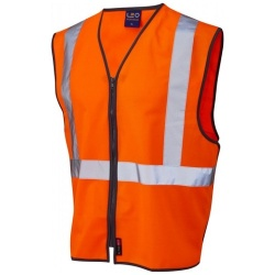 Leo Workwear W15-O Eggesford Railway Vest Waistcoat GO/RT Zipped Orange