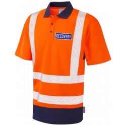 Hi Vis Recovery Workwear Dual Colour Coolviz Plus Polo Shirt Orange / Navy With Reflective Recovery Badges